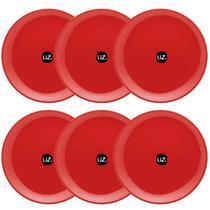 Jogo De 6 Pratos Rasos Redondos 26cm Pratos De Plástico Vermelho UZ - Uz Utilidades