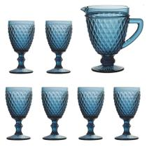 Jogo de 6 Taças 260ml + Jarra  Diamond Azul Escuro - BELA HOME