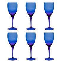 Jogo de 6 Taças De Cristal Água 470ml Azul Escuro - Oxford