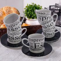 Jogo de 6 Xícaras 6 Pires Café Cafézinho Porcelana Decorar Preto Estampado 90ML - Hauskraft