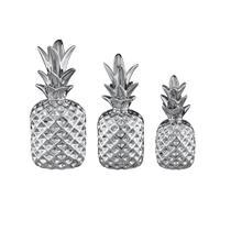 Jogo de abacaxi em cerâmica Mart 3 peças prata -