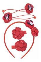 Jogo De Acessórios Para Cabelo Tiara Minnie Vermelho Disney - Taimes