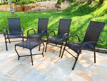 JOGO DE ÁREA BELA 4 cadeiras e mesa - edicula, varanda, sacada, churrasqueira, jardim, área de lazer - Click Moveis Artesanais