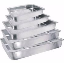 Jogo de Assadeiras Com 5 Peças Conjunto de Formas Para Bolo e Torta Kit Com Borda Alta em Alumínio - Plugador
