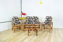 Jogo de Bambu 4 lugares e mesa - para Área, Varanda, Cadeira, Poltrona, Tecido - Vl Decor
