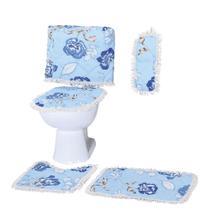 Jogo de Banheiro 4 Peças Floral Azul Matelado com Franja - Outfiter