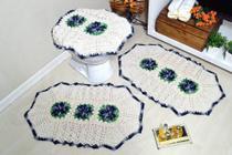 Jogo de Banheiro em Crochê Cinza Sóbrio - Arte & Tear