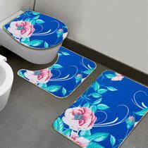 Jogo de Banheiro Floreio Azul - 3 UNID. - Vida Pratika