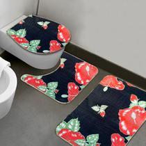 Jogo de Banheiro Flores Vermelhas - 3 UNID. - Vida Pratika