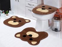 Jogo De Banheiro Infantil Urso 3pçs Pelucia Marrom - Celia Bordados