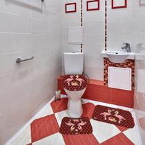 Jogo de Banheiro Natal Flamingo Bordô - Mdecore