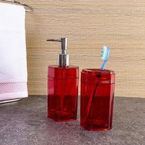 Jogo de Banheiro Splash Vermelho e Cromado 2 Peças - Brinox