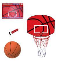 Jogo de basquete com tabela + aro + bola e bomba radical 61x46,5x37cm - Dm Brasil