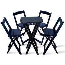 Jogo De Bistro Com 4 Cadeiras De Madeira Para Bar E Restaurante - Preto - Tarimatã