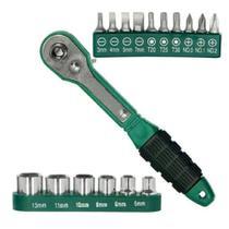 Jogo de bits com chave catraca 17 peças fr19 123util -