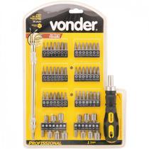 """Jogo de bits/ponteiras com 58 peças encaixe sextavado 1/4"""" Vonder PLUS -"""