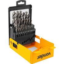 Jogo de brocas de aço rápido vonder din 338 1 a 13 mm 25 pc -