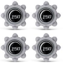 Jogo de Calota Central Ford F250 1999 a 2011 F350 1999 a 2011 Centro de Roda Prata com Preto 4 Peças - Emblemax