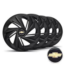 Jogo De Calotas Esportivas Aro 13 Nitro Fosco Black Com Emblema Chevrolet Corsa Celta Prisma Classic - Elitte LC213 -
