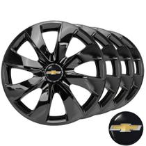 Jogo De Calotas Esportivas Aro 14 Prime Black Com Emblema Chevrolet Onix Corsa Celta Prisma Classic - Elitte LC232 -