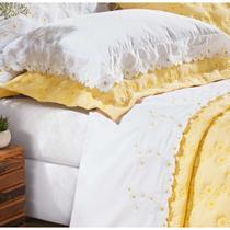 590adcd750 Jogo de Cama Casal Padrão Nuance 04 Peças Bordado 100 Algodão Percal 200  Fios - Branco Amarelo