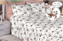 Jogo de cama casal Premium 200 fios 100% algodão 7509 Rosa Antigo - Estamparia S.A