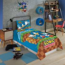 Jogo De Cama Infantil Solteiro Lepper Sonic 2 Peças Azul -