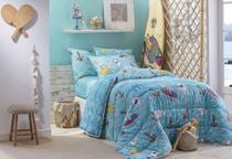 Jogo de cama infantil solteiro tubarão shark 3 peças happy day sultan azul -