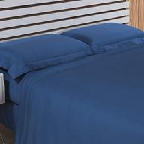 583be86d22 Jogo de Cama King 4 Peças 300 Fios Algodão Hotel Niazitex Azul