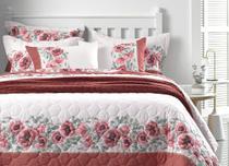 Jogo de cama king - Floral bordô - 4 peças  elise karsten  percal 150 fios ultramacio com rosas bordô -