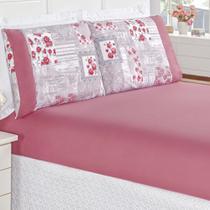 1af3e2f31e Jogo de Cama Naturale Casal Padrão Tecido Micropercal Patchwork 200 Fios 3  Peças - Pink -