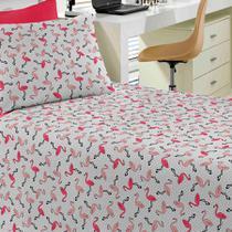 9b818df699 Jogo de Cama Portallar Solteiro Malha Estampado 2 Peças Flamingo