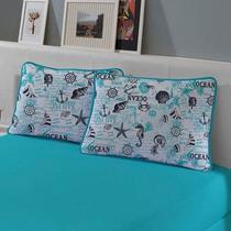 Jogo de Cama Queen 3 peças lençol com elástico e fronhas de Malha Slim Turquesa Náutico - Edromania