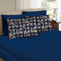 Jogo de Cama Queen Disney 3 Peças Mickey Azul Marinho - Portallar -