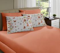 bee58a588d Jogo de cama simples casal de malha borboleta laranja - portallar