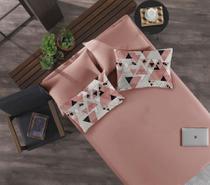 Jogo de cama simples casal de malha cubismo rosa antigo - niazi -