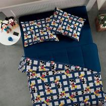 Jogo de cama simples casal de malha disney play mickey mescla - niazi -