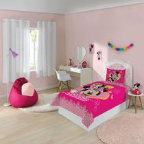 Jogo de cama solteiro estampado minnie 1,50 m x 2,10 m com 2 pecas - 7891354233496 - Lepper