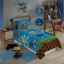 Jogo De Cama Sonic Microfibra 2 Peças Lepper Infantil Solteiro -