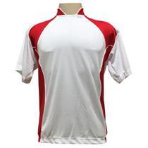 Jogo de Camisa com 14 unidades modelo Suécia Branco Vermelho + 1 Goleiro +  Brindes 8eef654bec81e
