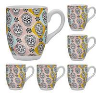 Jogo de canecas cerâmica 350ml 6 pçs canc hauskraft -