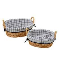 Jogo de cestas oval listra 2 peças - Wellmix
