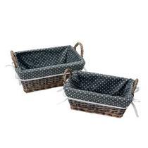 Jogo de cestas retangular bolinhas 02 peças - Wellmix