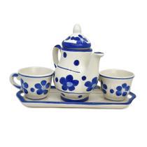 Jogo De Chá - Decoração Cozinha - Bule Xícara De Cerâmica - Ceramica Novo Horizonte
