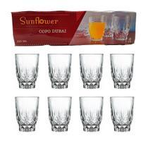 Jogo de copo 8 peças em vidro 220ml água suco linha dubai - Sunflower