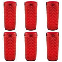 Jogo de Copos Bico de Jaca OU 550ml Acrílico Retrô 6 Copos Vermelho -