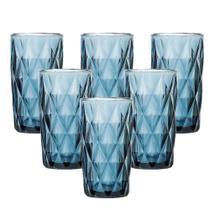 Jogo De Copos Diamond Azul Vidro Para Agua Com 6un. De 350ml - Class Home