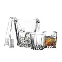 Jogo de copos para whisky com balde pasabahce vidro transparente 7 peças -
