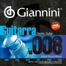Jogo de cordas giannini guitarra 0,08 geegst8 -