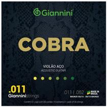 Jogo De Cordas Giannini Para Violão Aço Cobra 011 -